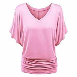 Baijiaye Femme Tee Top Grande Taille Manche Courte T-Shirt Collier V Manches Chauve-Souris Décontractée Tee Rose 2XL