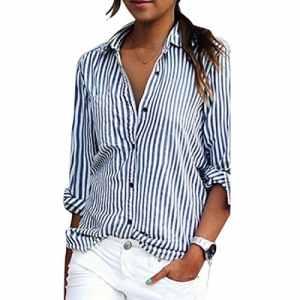 Bonboho Femme Rayure Boutons Col V Hauts Chemise Manches Longues Tops Blouse Casual Shirt (Medium, Blue+White)