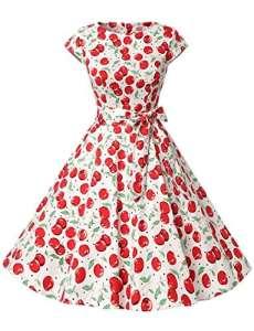 Dressystar DS1956 Robe à 'Audrey Hepburn' Classique Vintage 50's 60's Style à Mancheron Blanc à Cerise XS