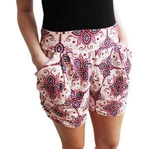 Familizo❤️ Shorts Imprimé pour Femme, Pantalon Court Taille Haute D'été (Small, Beige)