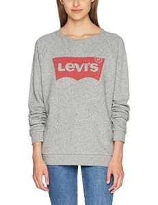 Levi's Relaxed Graphic Crew – Sweat – Femme – Gris (Fleece Batwing Smokestack HTR 0) – Large