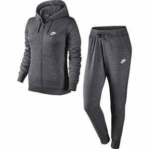 Nike NSW W TRK Suit Survêtement FLC, Femme L Multicolore – Gris Anthracite chiné/Blanc