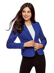 oodji Ultra Femme Blazer Basique Ajusté, Bleu, FR 44 / XL