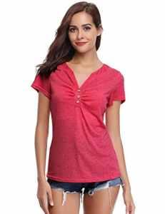 Tee Shirt Femme Haut Femme Col V Bouton Manches Courtes Décolleté Été Sport Top Chic T Shirt Femme Tricot Coton Respirant – Rouge Pastèque – Large