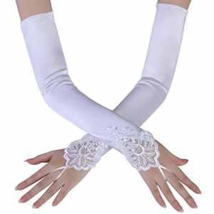 BABEYOND Gant de Soirée Femme Gant Long Satin Gant Mariage Satin Accessoire de Robe Année 1920 Style Classique pour Mariage Soirée Opéra Taille Élastique 52/54cm (Lisse Blanc 45cm)