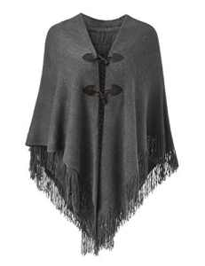 Ferand Women's Loose Fitting Poncho Cape Shawl with Stylish Horn Buttons, V Neckline and V Hem, Gris Foncé – One size