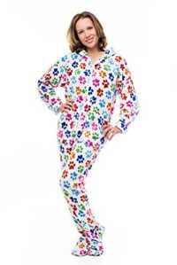 Les kajamaz P'tites Pattes: pyjama grenouillère pour adultes en polaire avec un motif de pattes de chien (très très grand)