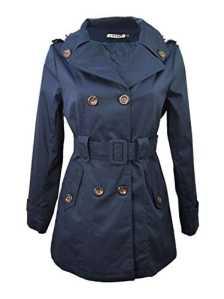 Miss Rouge:Trench,imperméable,Noir,Beige (M, Bleu Marine)