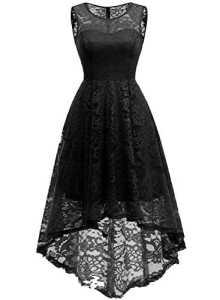 MuaDress MUA6006 Robe Femme soirée Cocktail/Bal High Low Jupe Asymétrique sans Manches à Fleur en Dentelle Noir 2XL