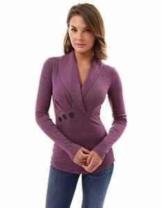 PattyBoutik femmes plissé détail blouse à col châle à manches longues (magenta chiné 34)