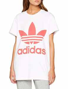 Adidas Big Trefoil T-Shirt Femme, Blanc, Semi Flash Red, FR : S (Taille Fabricant : 34)