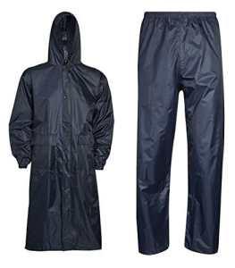 Islander Fashions V�Tements de Pluie Unisexe Imperm�Able Long Manteau et Pantalon Ensemble Robe de Travail Adulte Bleu Marine Moyen