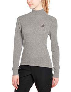 Odlo T- Shirt ML Active Warm col Droit Origina Manches Longues Femme, Mélange Gris, FR (Taille Fabricant : XL)
