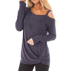 Sweat Femme 2018 EUZeo Printemps Automne Hiver Les Femmes La Mode en Vrac O-Neck Couleur Unie Tordu Évider Manches Longues Décontracté T-Shirt