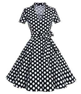 Timormode Robe Rétro Vintage Années 50 's Rockabilly Halter pour Noel Femme Robe Cocktail pour Mariage Pique-Nique à Manches Courtes 10084 Pois Noir L