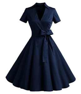 Timormode Sexy Robe année 50 Audrey Hepburn Robe Rockabilly Femme Swing Robe de Cocktail pour Mariage Party Robe Pin up Femme 10084Navy L