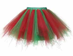 Bridesmay Ballet Tutu Jupon Jupe Pettiskirt en Tulle Courte Style Déguisement années 50 Rockabilly Couleurs Variées Red Green L