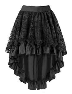 Burvogue Jupe de Femme Steampunk Vintage Gothique (4X-Large, Noir 2)