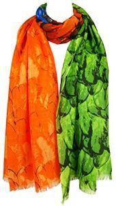 GFM® réversible Pashmina Style Écharpe en plumes de paon Motif élégant–Toucher doux et chaud–pour l'automne Hiver (Pckpash) – Multicolore – Large
