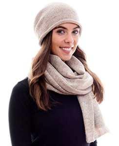 HILLTOP – Ensemble d'hiver de foulard d'hiver et bonnet assorti/Bonnet à pompon – différents modèles, Ensemble Hiver:marron clair