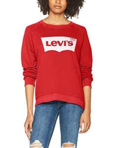Levi's Relaxed Graphic Crew, Sweat-Shirt Femme, Rouge (Better Fleece Housemark Chinese Red 0019), Small