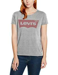 Levi's The Perfect Tee, T-Shirt Femme, Multicolore (Better Batwing Smokestack HTR 0263), Medium