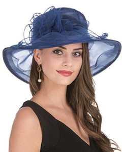 Lucky Leaf Chapeau d'église de Chapeau d'organza de Larges Femmes de Charme Floral de Chapeau pour la Soirée(1-Bleu Marine)