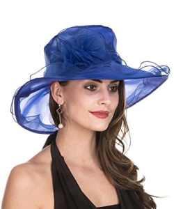 Lucky Leaf Chapeau d'église de Chapeau d'organza de Larges Femmes de Charme Floral de Chapeau pour la Soirée(1-Bleu Royal)