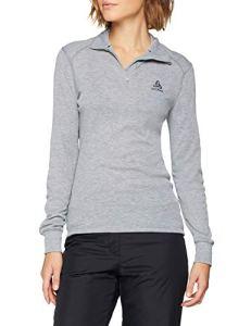 Odlo T- Shirt ML 1/2 Zip Active Warm Originals Manches Longues Femme, Mélange Gris, FR : L (Taille Fabricant : L)