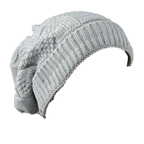 Quistal Mode Femme Hommes Chapeau d'Automne-Hiver   Bonnet Keep Warm en Laine Tricotée   Couleur Pure, Confortable (Taille unique, Gris)