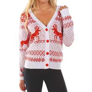 SANFASHION Soldes Sweat Femme,Tops Haut Sport Casual Pull Chic Blouse Sweatshirt Imprime Bonne Année Mode (M, Blanc De noël)