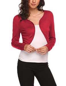 UNibelle Femme Boléro Haussement Tricot Manches Longues Cardigan Veste Rouge S