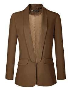 Urban GoCo Femme Veste De Tailleur Courte Casual Slim OL Blazer Blouson Costume d'affaires (XX-Large, Chameau)