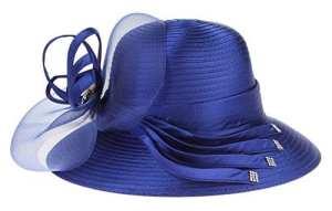 Y-BOA Chapeau Bibi Fleur Voilette Fedora Vintage Femme Mariage Cérémonie Capeline Bleu