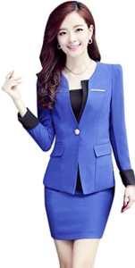 Yinxiang Liying Sexy mince Femme Gilets de tailleur Tailleurs-jupes (S, bleu marine)