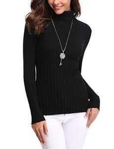 Abollria Pull Femme Hiver Col Roulé à Manches Longues Chic Chaud sous-Pull Tricot Hauts Femmes Basique Grande Taille à la Mode, Noir, S