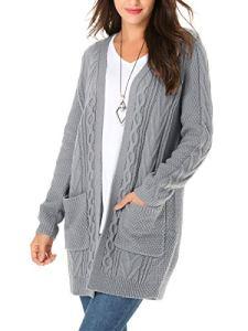 ClasiChic Cardigan Femme Long en Maille,Grande Taille Gilet Torsadé à Manches Longues,Mode Outwear Lâche Chandail tricoté M-3XL (M(EU 36-38), Gris)