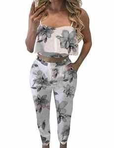 Fancyinn Femmes Tenues Florales Top Court à Bretelles Fines Pantalons Longs Ensembles de vêtements décontractés