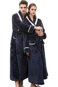 Landove Peignoir Long Polaire Femme Homme Unisexe Couple Pyjama Kimono Robe de Chambre Manche Longue Bathrobe Nightgown Vêtements de Nuit pour Hotal Spa Homewear Romper Sleepsuit
