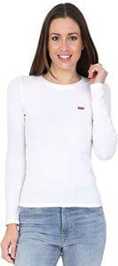 Levi's LS Baby Tee, T-Shirt Femme, Blanc (White + 0000), Medium
