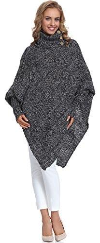 Merry Style Poncho Vêtement Femme Carla (Noir/Melange, One Size)