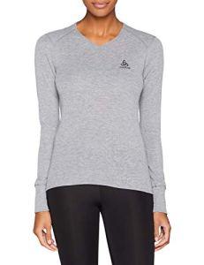 Odlo T- Shirt ML Warm Originals col V Manches Longues Femme, Mélange Gris, FR : M (Taille Fabricant : M)