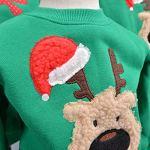 Pull Noel Famille Pulls De Noël Homme Femme Enfant Garçon Fille Sweat Shirt Moche Pull Over Renne Cerf Sweatshirt Col Rond Christmas Sweat-Shirt Manche Longue Hiver Chaud Toute la Famille Vert M