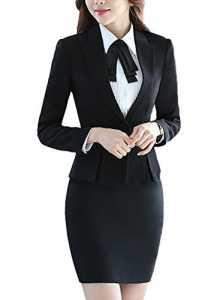 SK Studio Femmes Travail Blazer Jupe De Bureau Tailleur Revers Casual Costume Manteau Noir 38 étiquette XL