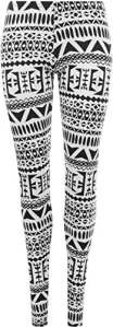 WearAll – Legging Longue Imprimé Aztèque Tribal – Leggings – Femme – Noir & Blanc – 40-42