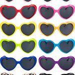 12 Pièces de Lunettes de Soleil en Forme de Coeur de Couleurs Néon pour Femmes, Enfants Faveurs Cadeaux et Fêtes