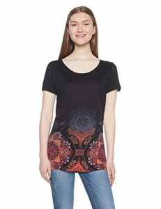 Desigual TS_Leonor, T-Shirt Femme, (Negro 2000), Small