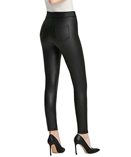 Everbellus Femmes Legging Simili Cuir avec Poches Skinny Stretch Slim Pantalon Noir (L/EU38:Tour de Taille 71-79CM, Noir)