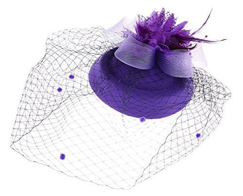 Fascinateur Chapeaux Pillbox Chapeau britannique Bowler Chapeau Fleur Voiler Mariage Chapeau thé Fête Chapeau (Violet)