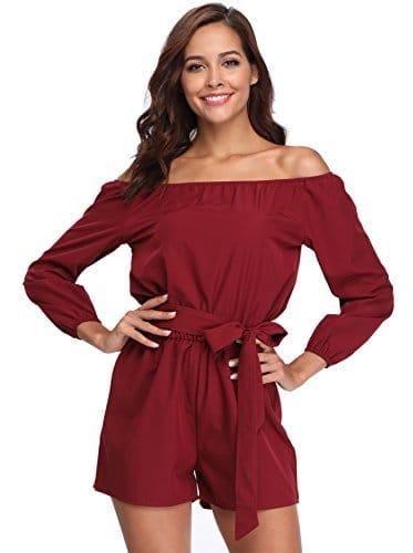 Femmes Sexy Combi-Short Rouge Party Dames Manches Longues Hors de la Taille de l'épaule Au-Dessus du Genou Couleur Unie – XL